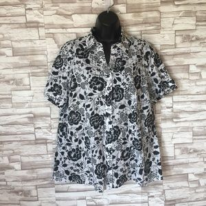 White stag floral button down shirt size L 12-14